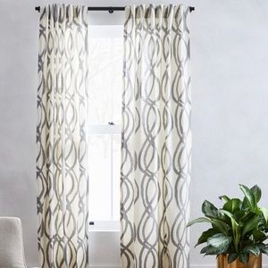 """Cotton Canvas Scribble Lattice Curtains 91"""" long"""